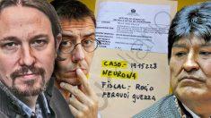 Pablo Iglesias y Juan Carlos Monedero junto con Evo Morales sobre el expediente del 'caso Neurona'.