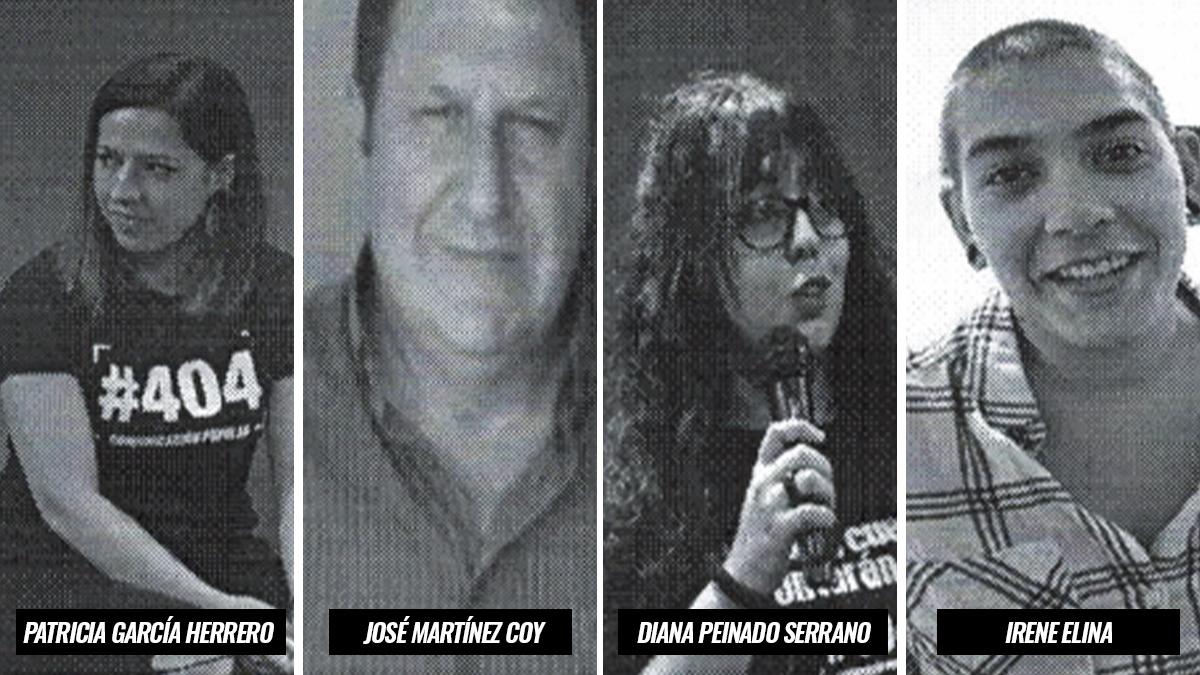 Irene Elina (dcha.) y otros miembros de Podemos que forman parte de la asociación #404 Comunicación Popular.