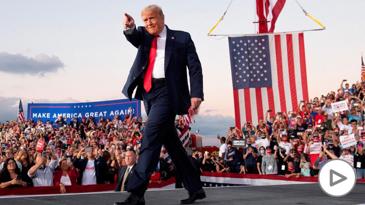 Donald Trump en un acto de campaña de las elecciones EEUU 2020 en el estado de Florida. Foto: AFP