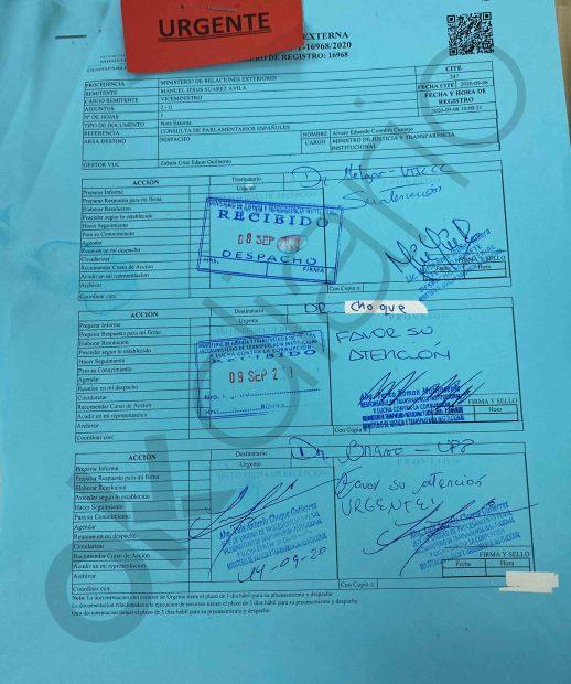 Documento que acredita que el Viceministerio de Transparencia y Anticorrupción de Bolivia recibió la petición de España de enviar las transferencias bancarias realizadas a la consultora Neurona.