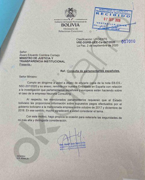 El Ministerio de Relaciones de Exteriores de Bolivia pidió al de Justicia información sobre los 1,6 millones de dólares que Evo Morales adjudicó a la consultora chavista.