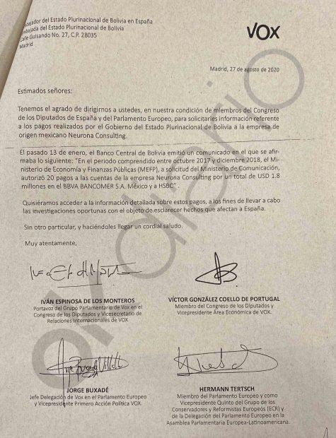 Carta de VOX a la Embajada de Bolivia en España donde solicita información sobre los pagos a la consultora podemita Neurona.