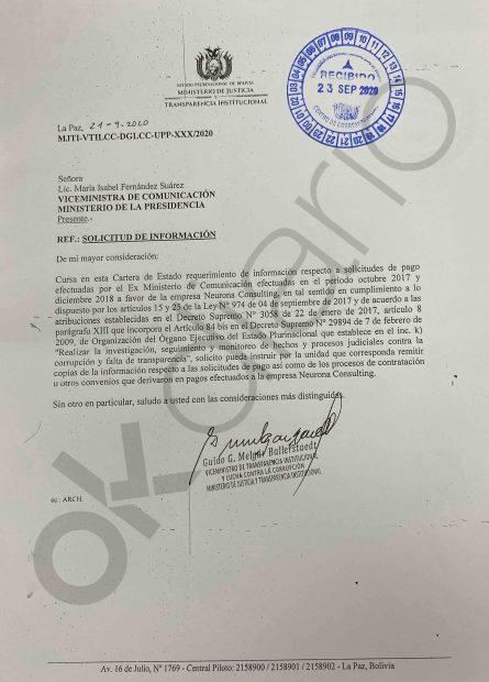 Carta recibida en el viceministerio de Comunicaciones de Bolivia, que fue la institución pública que adjudicó 7 contratos públicos a la consultora vinculada a Podemos.