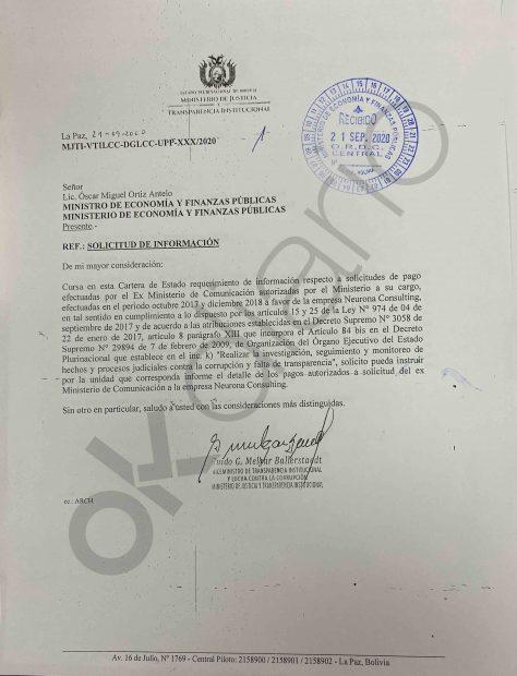 El viceministro boliviano de Transparencia y Anticorrupción envió un requerimiento al Ministerio de Economía para que busque el rastro de las transferencias bancarias realizadas a la consultora Neurona.