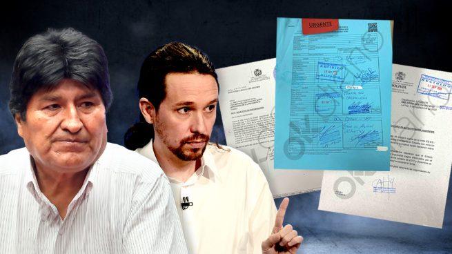Pablo Iglesias junto a Evo Morales y los documentos del 'caso Neurona' que publica hoy OKDIARIO.