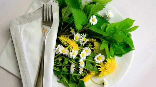 Ensalada de hierbas silvestres y frutas