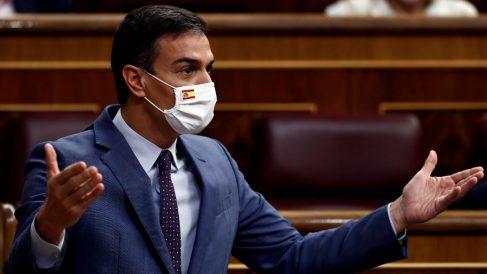 El presidente del Gobierno, Pedro Sánchez, este miércoles en el Congreso. (Foto: EFE)