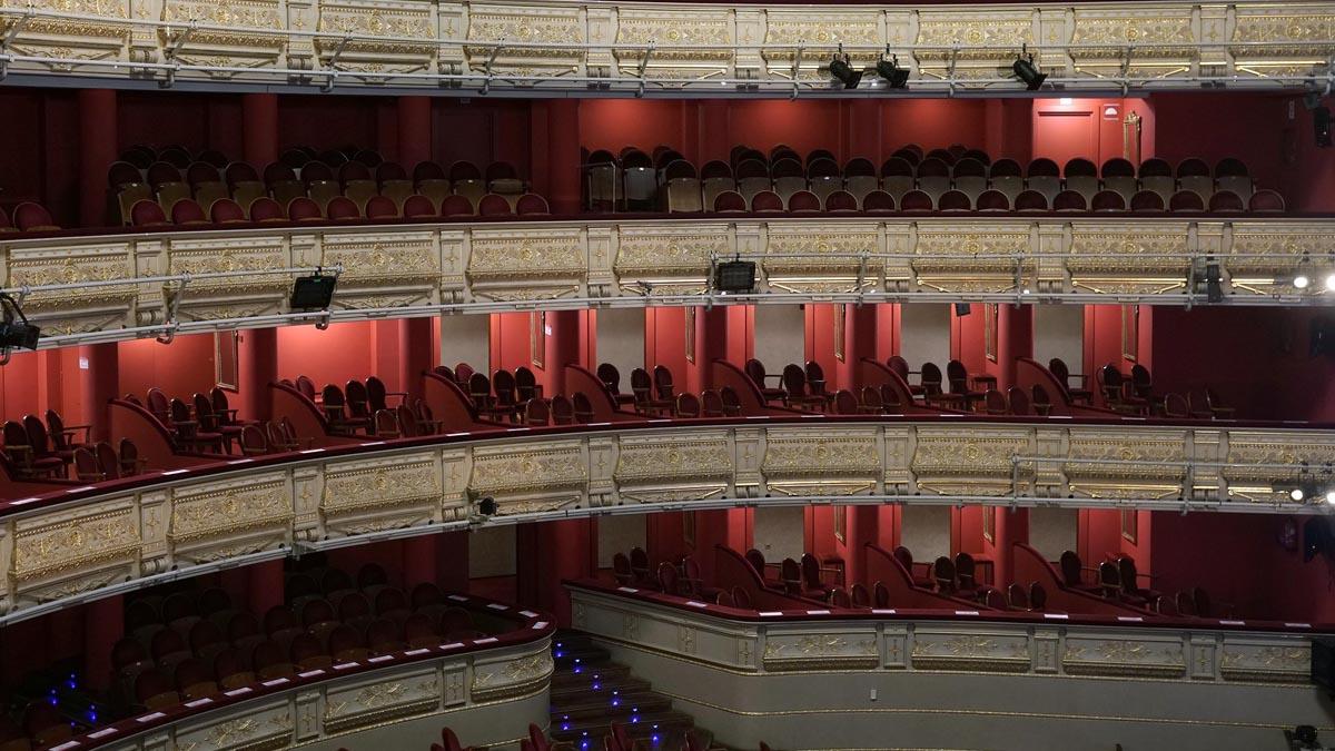 Las gradas y palcos vacíos en el Teatro Real de Madrid. Foto: EP