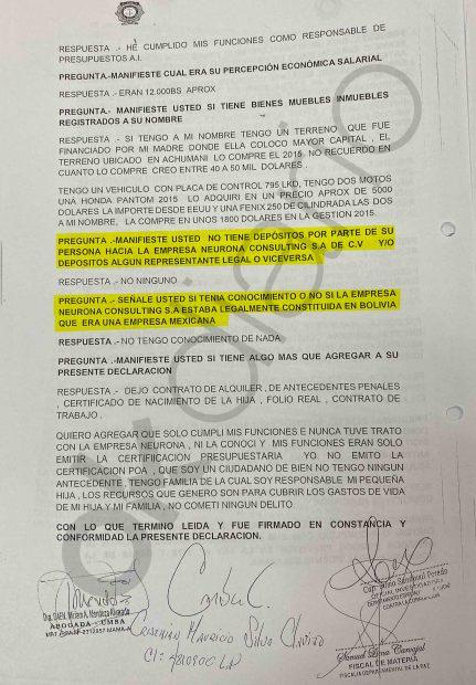Declaración en la Fiscalía del ex tesorero del Ministerio de Comunicaciones de Bolivia en el 'caso Neurona'. Parte 1.