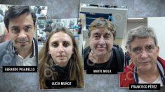 Los cuatro observadores que Podemos ha enviado a Bolivia a su llegada al Aeropuerto de Viru Viru.