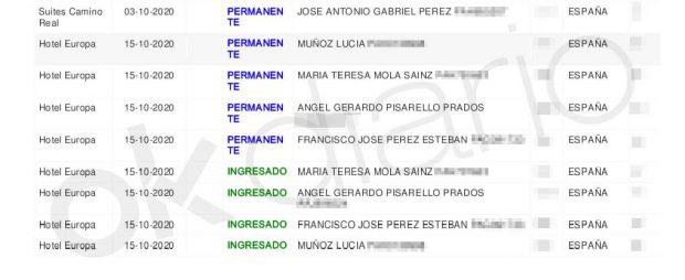 Registro de huéspedes del hotel Europa de La Paz, donde figuran como huéspedes los cuatro observadores que Podemos ha enviado a Bolivia.