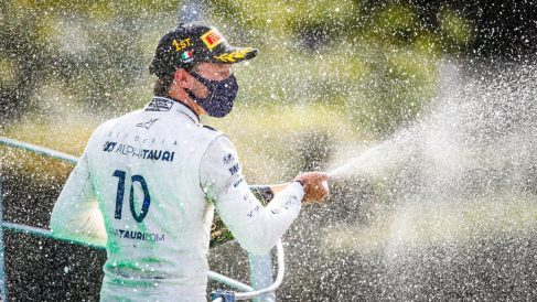 Pierre Gasly celebra su victoria en el Gran Premio de Italia. (@PierreGASLY)