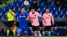 Busquets, durante un partido ante el Getafe. (AFP)