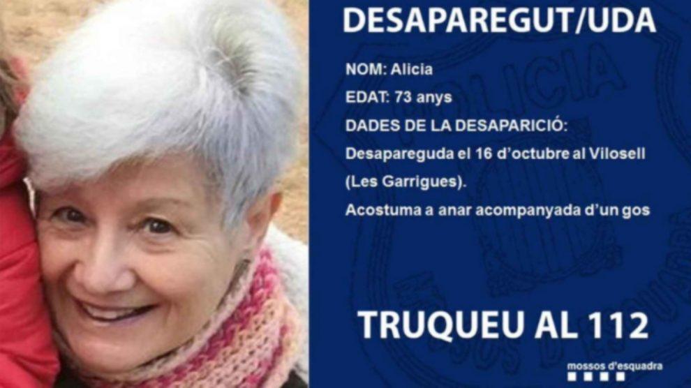 Cartel de los Mossos para buscar a Alicia, la madre desaparecida de Jaume Collboni.