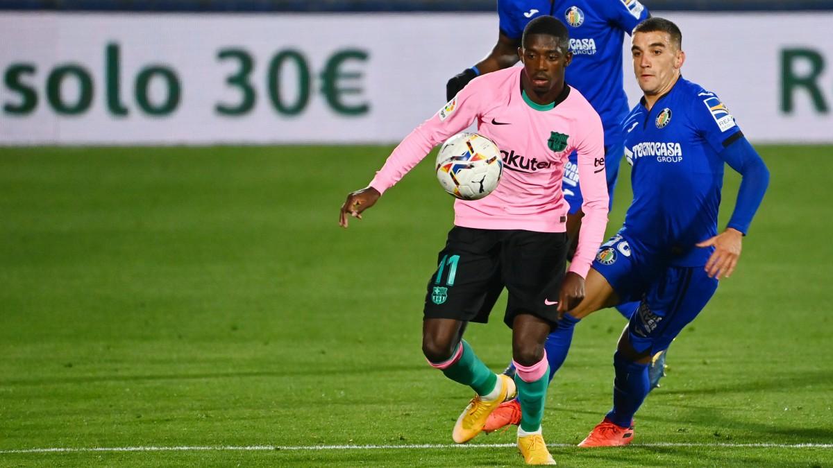 Dembélé en el partido ante el Getafe. (AFP)