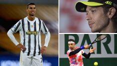 Cristiano Ronaldo, Valentino Rossi o Grigor Dimitrov son algunos de los deportistas que ha dado positivo por COVID-19 (Getty)