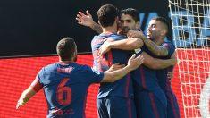 Luis Suárez celebra su gol al Celta. (AFP)