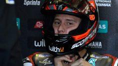 Fabio Quartararo duran la clasificación del GP de Aragón de MotoGP. (AFP)