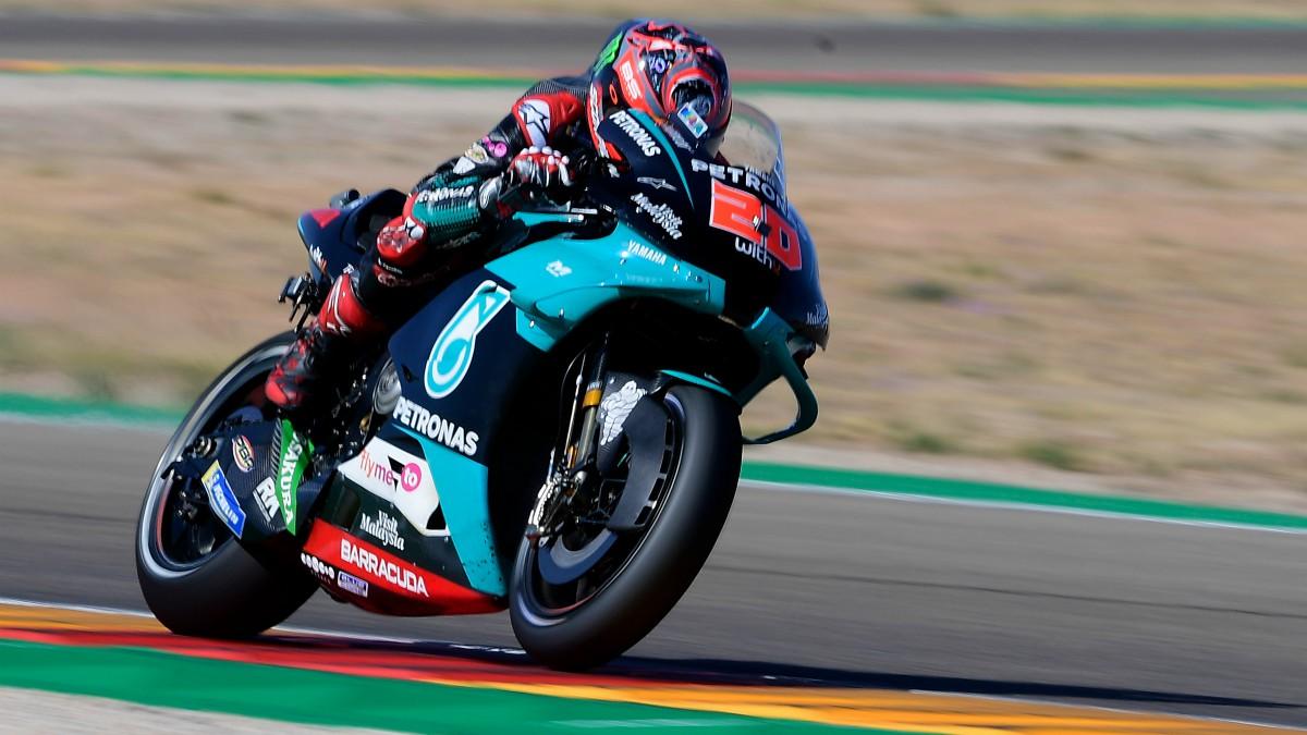 Fabio Quartararo saldrá desde la pole en el GP de Aragón de MotoGP. (AFP)