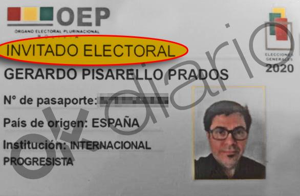 """Acreditación de Gerardo Pisarello como """"invitado electoral"""", no como observador internacional."""