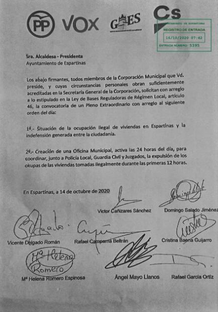 Escrito enviada a la alcaldesa socialista de Marchena.