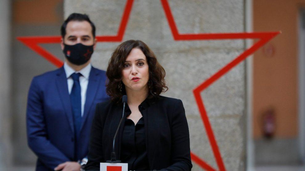 Isabel Díaz Ayuso durante su comparecencia. Foto: EP