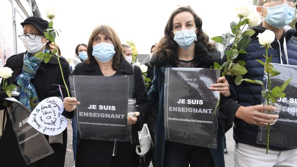 Manifestación por el asesinato de un profesor en Francia. Foto: EP
