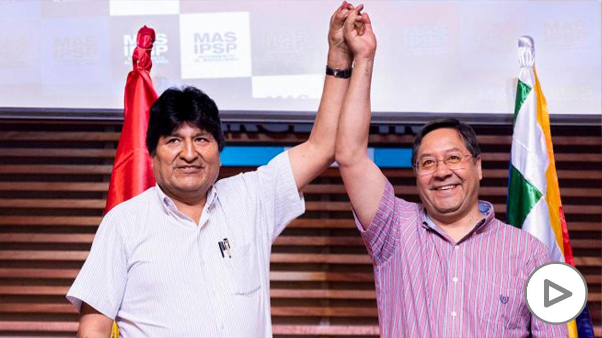 El candidato del MAS, Luis Arce, junto al líder del partido, Evo Morales.