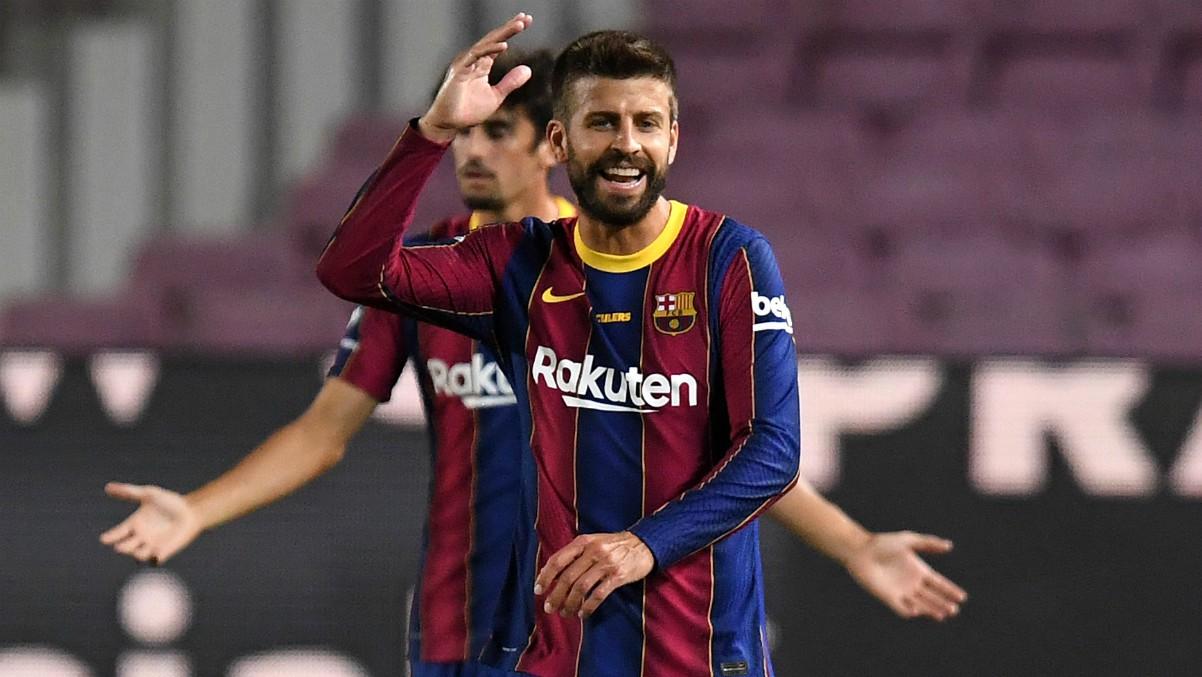 Gerard Piqué durante un partido con el Barcelona. (Getty)