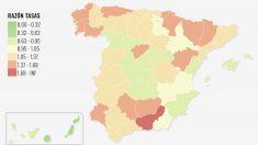Mapa sobre el avance del riesgo de contagio en España, con Madrid como una de las tres en las que más retrocede la segunda ola del coronavirus.