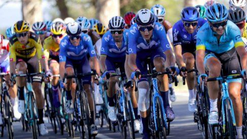 Marc Soler, Alejandro Valverde y Enric Mas, en el pasado Tour de Francia. (Movistar Team)