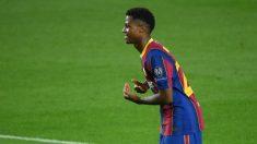 Ansu Fati celebra su gol en el Barcelona-Ferencvaros. (AFP)