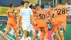 Los jugadores de la Juve celebran el gol de Morata. (AFP)
