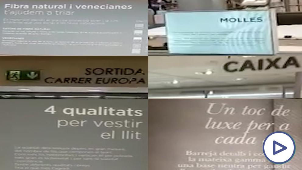Un Corte Inglés en plena ciudad de Barcelona excluye los rótulos en español de su sección de hogar
