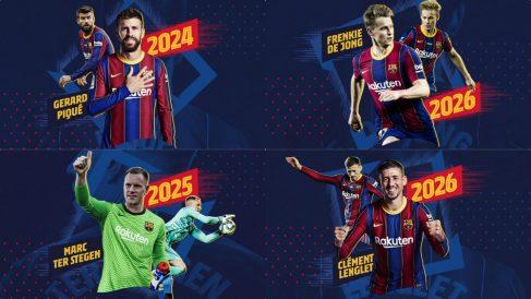 El Barcelona anuncia las renovaciones de Piqué, Lenglet, De Jong y Ter Stegen.