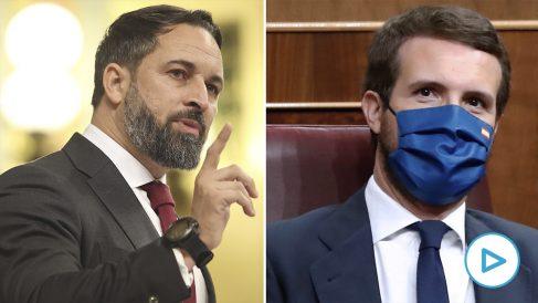 Santiago Abascal se ha referido al PP y a Pablo Casado en su discurso de la moción de censura en el Congreso. (Foto: Efe)