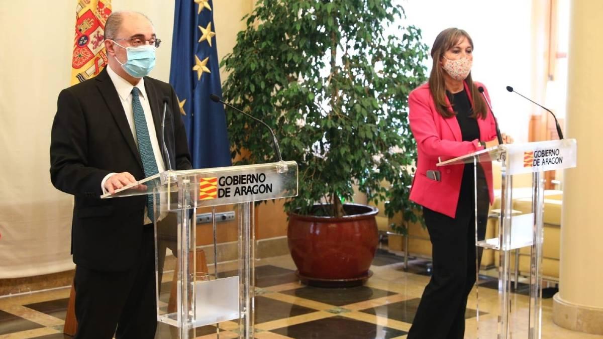 Javier Lambán y Sira Repollés en la rueda de prensa de este jueves. Foto: EP