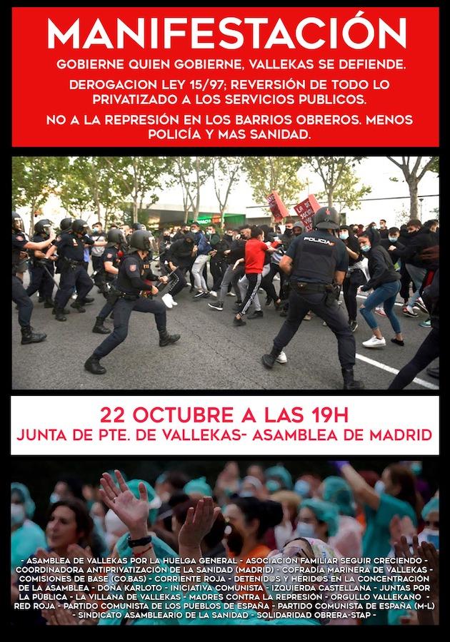 Vallecas se harta de Sánchez y organiza una manifestación por las cargas policiales de Marlaska