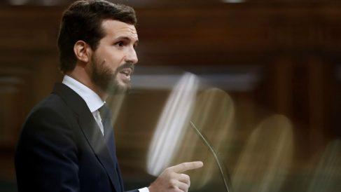 El líder del PP, Pablo Casado, durante su intervención en la segunda sesión del debate de moción de censura.