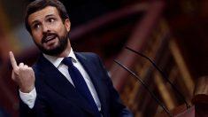El líder del PP, Pablo Casado, durante su intervención en la segunda sesión del debate de moción de censura presentada por Vox, este jueves en el Congreso. Foto: EFE
