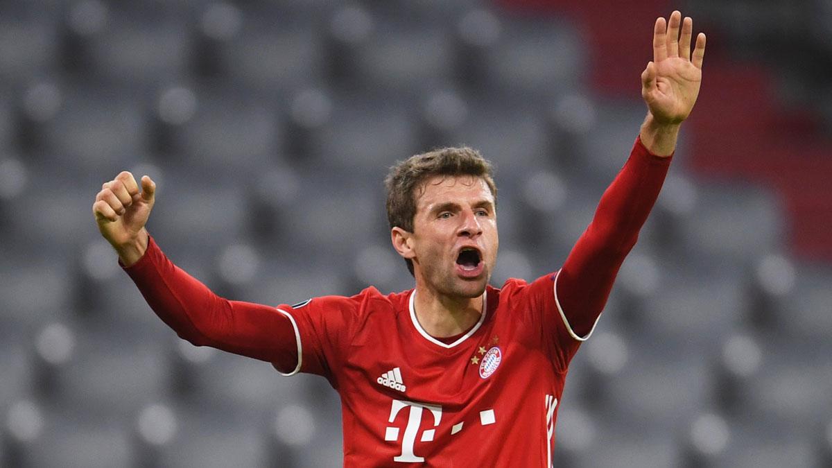 Müller, durante el partido de Champions entre el Bayern y el Atlético de Madrid (AFP)