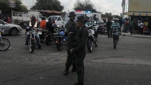Agentes del Servicio Bolivariano de Inteligencia (SEBIN) desplegados en Caracas.