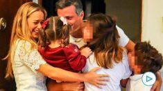 Leopoldo López con su mujer e hijos en Madrid.