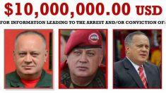 La Agencia antidrogas de EEUU, la DEA, ofrece una recompensa de 10 millones de dólares para quien entregue a Diosdado Cabello.