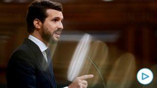 El líder del PP, Pablo Casado, durante su intervención en la segunda sesión del debate de moción de censura presentada por Vox, este jueves en el Congreso.