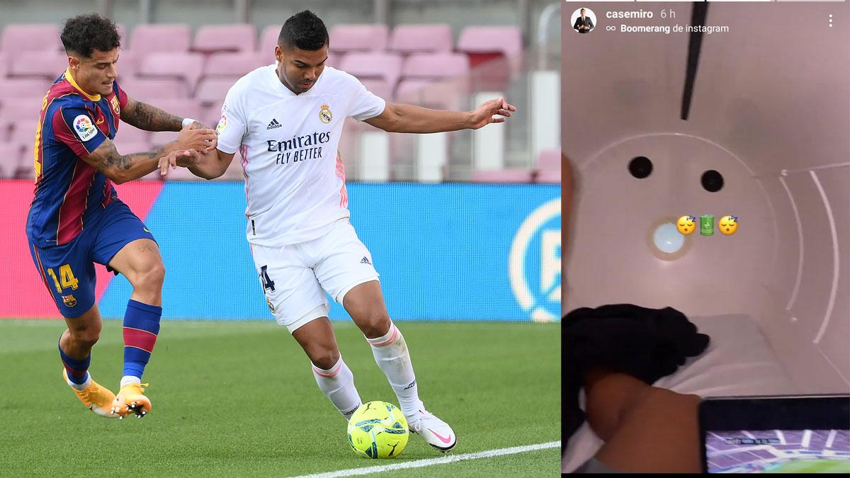 Casemiro, durante el Clásico /El centrocampista brasileño en la cámara hiperbárica (AFP/Instagram de Casemiro)