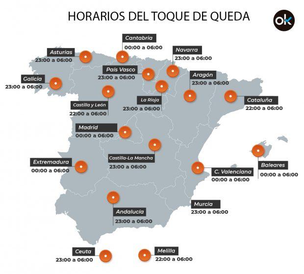 Mapa de los horarios del toque de queda en cada comunidad autónoma
