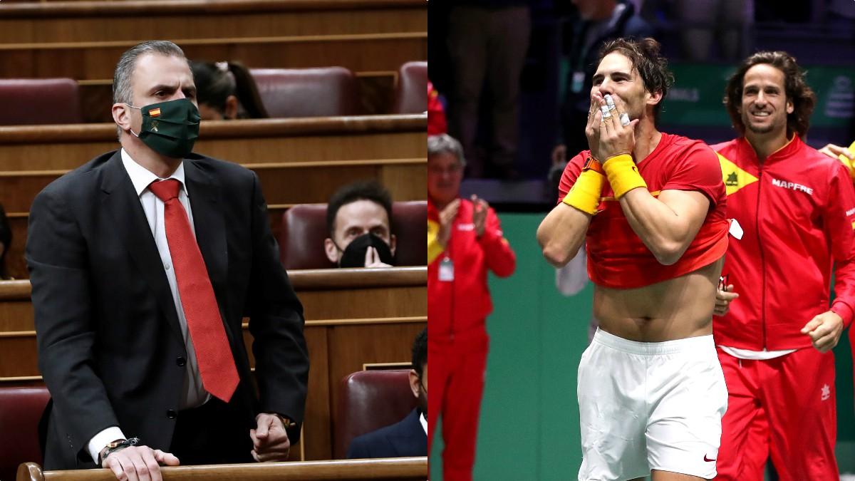 Javier Ortega Smith y Rafael Nadal.