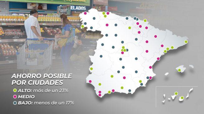 Estos son los supermercados más caros y más baratos de las principales ciudades de España