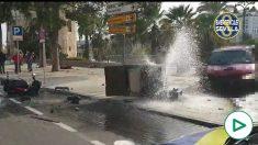 Accidente de tráfico junto a la Torre del Oro, en Sevilla.